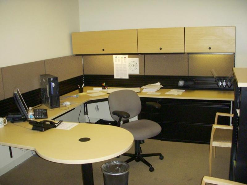office work surfaces. Tracked OfficesBeautiful Ash Laminate Work Surfaces,Maple Veneer Over Heads W/ Task Lights,two Drawer Lateral File, Pedestal.Only $650.00Offer H.N.#1 Office Surfaces